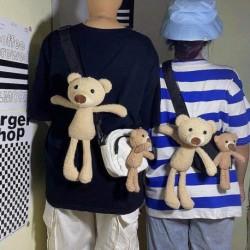 Női plüss mackó medál lány baba plüss táska kiegészítő pár kulcstartó plüss játékok