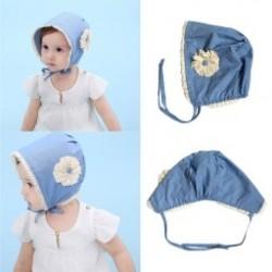 1db Baba lány Floral Csipke Kék Pamut Hat Újszülött Sapkák Aranyos Bebe fejfedő kalap