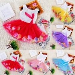 1db Baba ruha Virágok több színű Ujjatlan O-nyakú hercegnős gyerek ruha 5 színben