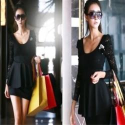 1 db Klasszikus női Modal hosszú laza A méret alsó mellény Top Blúzruha fekete csipke ruha elegáns