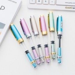 1db  3008 Szökőkút tollak átlátszó ezüst arany 0.5mm Fine Nib