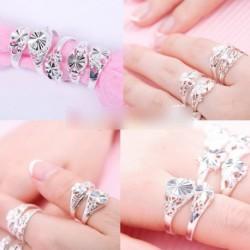 10db Divat ezüst szín Vegyes design gyűrű készlet