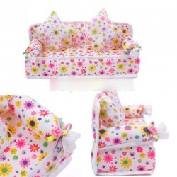 Mini virág mintás kanapé ágy 2 párnával barbie
