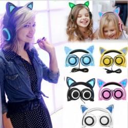 Összecsukható macska cica fül mintás LED világítós fejhallgató fülhallgató Samsung Iphone