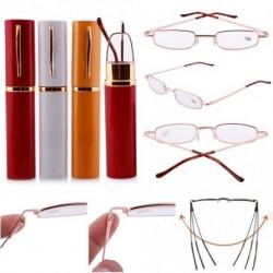 1db Hordozható unisex női férfi arany keret olvasó szemüveg alumínium tok   1.0 ~   4.0