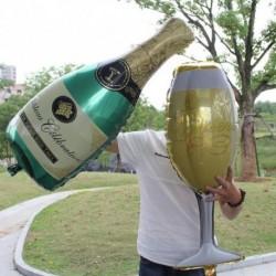 1db pezsgős üveg fólia hélium léggömb lufi parti születésnap dekoráció