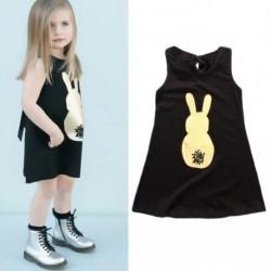 1 db Baba Lányok Aranyos Nyúl Fekete Ruha Gyermekek Kisgyermek ruhák Gyerekruha