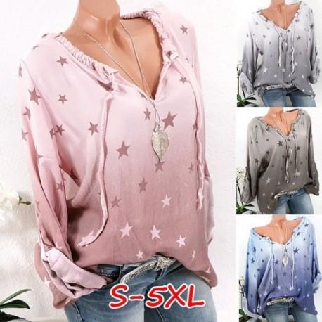 924f689b76 1 db Divat Plusz méret Női Új V-nyakú Ombre Star nyomtatott pólók Hosszú  ujjú alkalmi ruhák