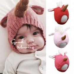 1 db Divat Baby fiú lány Unicorn Rajzfilm Aranyos Meleg Kötött fej sapka kiegészítők 6-36 hó