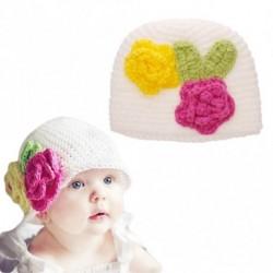1 db Baby kislány virág mintás kötött hímzett sapka Újszülött Fehér Sapka Tartozékok