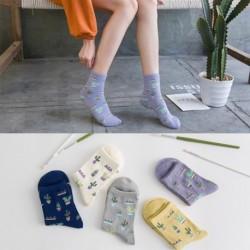 1  db Divat Női Lányok Pamut Zokni Boka Gömbök Koreai stílusú katusz mintás félhosszú zokni