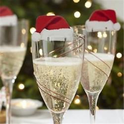 10db karácsonyi kalapok pezsgős borospohár karácsonyi ünnepi party dekorációk
