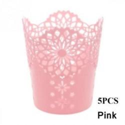 Pink-5db - 1 / 5PCS sminkkefetartó tolltartó edénytároló Hollow Flower csipke