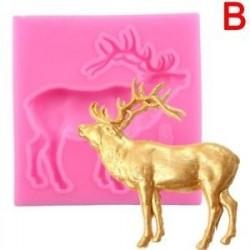 B - Cake 3D szilikon Fondant Mold Elk Deer alak karácsony