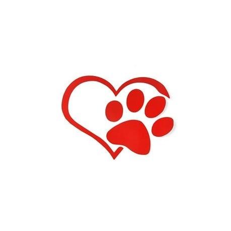 Piros - Heart Paw Vinyl Decal Autós targonca Lökhárító ablak Adja Cat kutya szív Hot