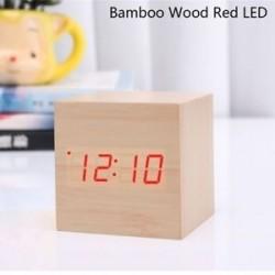 Bambusz fa piros LED - USB / AAA hőmérő Naptár kijelző Asztali dekoráció Digitális LED ébresztőóra