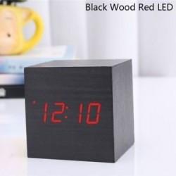 Fekete fa piros LED - USB / AAA hőmérő Naptár kijelző Asztali dekoráció Digitális LED ébresztőóra