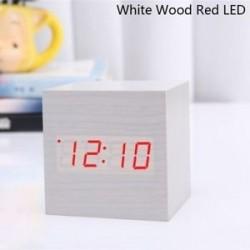 Fehér fa piros LED - USB / AAA hőmérő Naptár kijelző Asztali dekoráció Digitális LED ébresztőóra