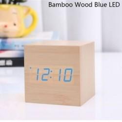 Bambusz fa kék LED - USB / AAA hőmérő Naptár kijelző Asztali dekoráció Digitális LED ébresztőóra