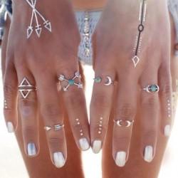 Divat 6 db-os türkiz  Női Ékszer gyűrű szett